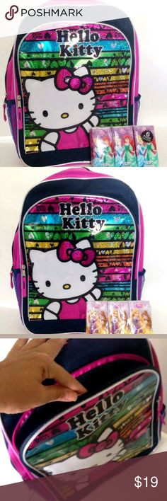 "Hello Kitty Theme Child's School Backpack Book Bag Hello Kitty Theme Child's School Backpack or Book Bag with 6-Pack of Princess Personal Size Tissues  Adjustable Padded Shoulder Straps  One Main Zipped and One Front Pocket  2 Mesh Side Pockets  Approx Measurements: 16"" x 12"" x 5""  If you have any questions or concerns about your item(s) upon receipt, please message me so that I may address them - Your satisfaction is my HIGHEST priority! Sanrio Accessories Bags"