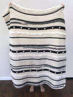 Easy Crochet Afghans Anthropology Blanket Pattern - Throw and Baby Blanket by Deborah O'Leary Patterns Crochet Afghans, Basic Crochet Stitches, Crochet Blanket Patterns, Baby Blanket Crochet, Crochet Baby, Knitting Patterns, Crochet Blankets, Chunky Crochet, Double Crochet