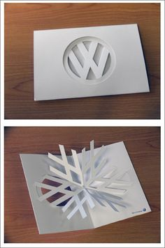 VW Christmas card design, folds out into a snowflake #stationery #design #folded