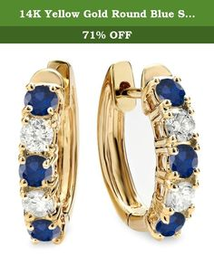 14K Yellow Gold Round Blue Sapphire & White Diamond Ladies Huggies Hoop Earrings. This lovely piece of jewelry is a wardrobe must have. All blue sapphires & white diamonds are sparkling and 100% natural. All our products with FREE gift box and 100% Satisfaction guarantee. The actual earrings are smaller than what appears in the photo. Blue Sapphire is very dark blue in color - Color varies from photo. SKU # DR5224-1922-14KY.