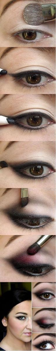 Real step by step. Eye line/ shadow Hate the red though, but nice with grey or browns