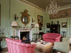 Room of the Day ~ celery green walls grace this charming English sitting room 7.5.2014