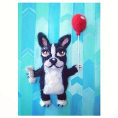 OOAK Needle Felted Boston Terrier Dog Balloon Wool Art Felting Decor | eBay