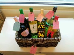 Gift basket - match the wine labels to inside jokes and special occasions. We made this one for our friend who is moving to DC as a going away present :-)