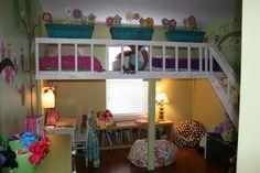 DIY loft bedroom for girls...add a slide.