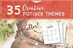 35 Creative Potluck Themes - host fun and unique potluck gatherings and try out some new and interesting recipes with friends and family! Potluck Themes, Church Potluck Recipes, Work Potluck, Potluck Dishes, Potluck Meals, Group Dinner, Veggie Tray, I Want To Eat, Good Ole