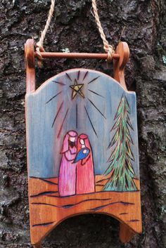 Wood Burned Nativity Sled by CarmelasCreations on Etsy, $25.00