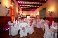 Create a beautiful atmosphere with uplighters in our Great Hall. This stunning room compliments any design for all wedding receptions.  Start the journey for your special day and let us welcome you into our luxury and unique wedding venue.  To arrange a time to come and see us please call Louisa or Sarah on 01920 885245.