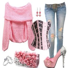 Pink Corset Outfit with Distressed Skinny Jeans                                                                                                                                                                                 More