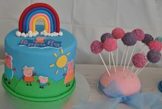 Peppa pig cake with cake pops — Children's Birthday Cakes