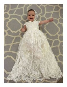 Sierra ivory christening / baptism gown This beautiful christening, baptism, flower girl dress in 100% hand made. It is made to measure so please provide age and measurements after purchase so that i am able to make the dress fit as best as possible on the child. The outer layer of this dress
