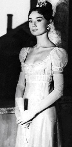 """Audrey Hepburn in a dress by Fernanda Gattinoni for the movie """"War and Peace"""" 1956"""