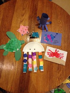 Under the Sea theme - crafts done with a 4 and 2 year old.