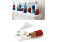 advent calendar using toilet paper tubes, calendario adviento, advent Christmas Countdown, Christmas Crafts For Kids, Simple Christmas, Holiday Crafts, Christmas Holidays, Christmas Calendar, Christmas Toys, Homemade Advent Calendars, Advent Calendars For Kids