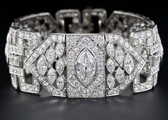 Art Deco 26 carat diamond and platinum bracelet. Via Diamonds in the Library.