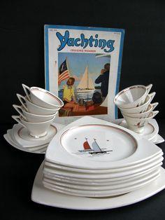 "Fantastic Set would be PERFECT addition to a modern/funky ""nautical"" decor    Rare Salem China Streamline & Tricorne Dinnerware Set for 4 or 8 - Art Deco Nautical Sailing Ships. $180.00, via Etsy."