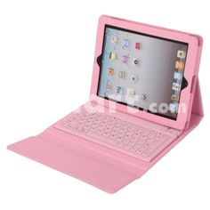 PU Leather Case with Bluetooth Keyboard for iPad 2 / The New iPad 3 Pink,$37.56