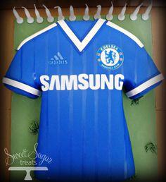 Chelsea Football Shirt Cake Chelsea Football Shirt, Chelsea Shirt, Chelsea Soccer, Football Tops, Soccer Cupcakes, Soccer Cake, Soccer Shirts, Sports Shirts, Shirt Cake