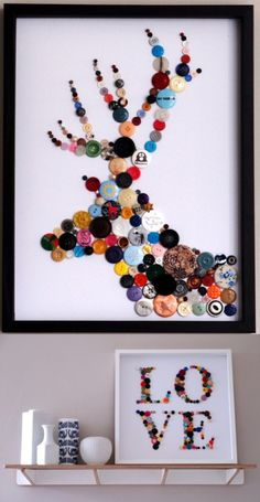I love the idea of a silhouette done in buttons and pins.