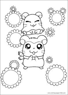 hamtaro color page cartoon characters coloring pages color plate coloring sheetprintable