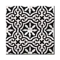 Argana Mozona Black and White Handmade Moroccan 8 x 8 inch Cement and Granite Floor or Wall Tile (Case of 12)