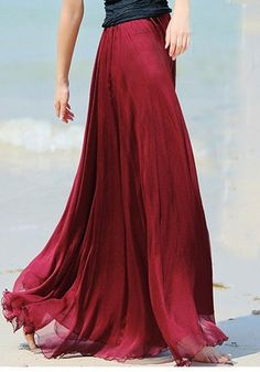 Wine Red Plain Draped Wavy Edge Pleated Elastic Waist Floor Length Bohemian Chiffon Skirt