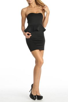 24/7 FRENZY Strapless Party Dress With Peplum Waist In Black - Beyond the Rack