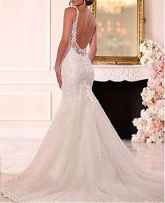 Dressylady Spaghetti Staps Beaded Lace Appliques V Neck Backless Mermaid Wedding Dress at Amazon Women's Clothing store: