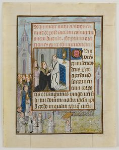 Manuscript Leaf with the Holy Communion, from a Book of Hours. Manuscript Leaf with the Holy Communion, from a Book of Hours Date: ca. 1500 Medium: Tempera, ink, and shell gold on parchment Accession Number: 32.100.475g