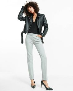 heathered low rise editor ankle pant