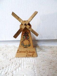 Vintage Wooden WINDMILL Solid Wood Handmade DUTCH Girl Old Souvenir via Orphaned Treasures Etsy