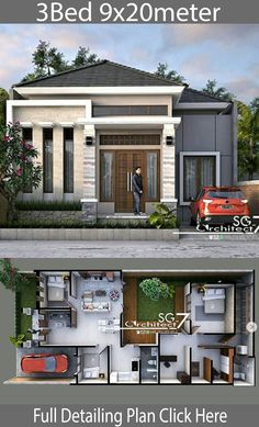 haus design 3 Bedrooms Home design plan description:One Car Parking and gardenGround Level: Master bedroom with included Office walk in closet and bathroom, Modern Bungalow House Design, Modern Small House Design, Classic House Design, Duplex House Design, House Front Design, Minimalist House Design, Minimalist Bedroom, Home Design Images, House Design Pictures