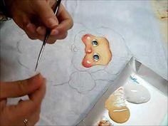 PINTURA EM TECIDO - Rosto do Papai Noel painting Santa video # 1