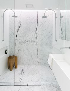 C+M Studio have upped the ante with their latest renovation project in Sydney. The Paddington Project is the design duo's second Open House listing. | large and luxurious walk-in shower in #gray with double showerheads