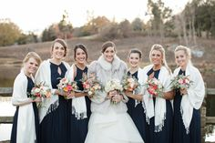 Winter bridal party; Navy blue wedding; UVA wedding {Chelsea + Tyler 11.15.14} {Photo Credit: Sincerely, Liz Photography}