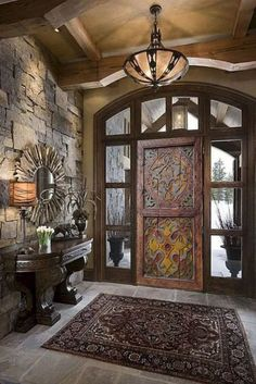 Double Sliding Doors, Double Doors Exterior, Mediterranean Homes, Mediterranean Architecture, House Architecture, Dream Home Design, Log Homes, Home Remodeling, Building A House