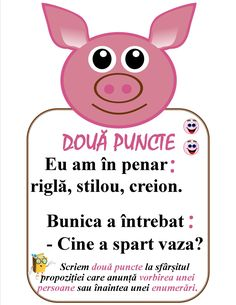 Semne de punctuație -Două puncte Romanian Language, Teacher Supplies, Class Decoration, School Lessons, Grammar, Kindergarten, Homeschool, Parenting, Classroom