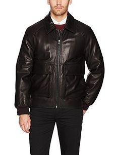 """Smooth lamb skin aviator bomber with rib knit detail.       Famous Words of Inspiration...""""Fear less, hope more, eat less, chew more, whine less, breathe more, talk less, say more, hate less, love more, and good things will be yours.""""   Swedish...  More details at https://jackets-lovers.bestselleroutlets.com/mens-jackets-coats/leather-faux-leather/product-review-for-marc-new-york-by-andrew-marc-mens-coles-smooth-lamb-shirt-collar-bo"""