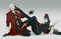 Request from Dante and Bayonetta. Dante is concerned about where her left leg is aiming at bad boy Devil May Cry, Character Drawing, Character Concept, Video Game Art, Video Games, Hideki Kamiya, Hack And Slash, Bayonetta, Ancient Symbols