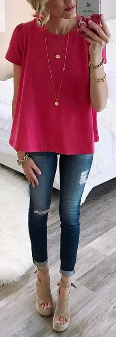pink top + rips spring uniform