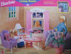 Bon Barbie Living Room Playset   Folding Pretty House (1997 Arcotoys, Mattel)  By Arcotoys