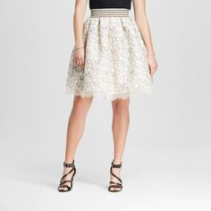 Women's Textured Scallop Hem Party Skirt Natural S - 3Hearts (Juniors'), White