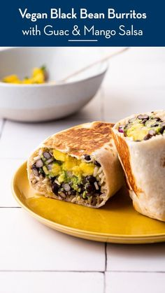 These healthy, vegan black bean burritos with mango salsa and guacamole are simple enough for weeknight dinners. thenewbaguette.com #veganburritorecipe #vegetarianburrito #burritorecipes #mangosalsa Vegetarian Burrito, Bean Burritos, Veggie Dinner, Thing 1, Quick Weeknight Meals, How To Cook Rice, Cooking Black Beans, Mango Salsa, Refried Beans