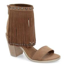 """Very Volatile 'Lux Fringe' Sandal, 3 1/4"""" heel ($70) ❤ liked on Polyvore featuring shoes, sandals, taupe faux leather, bohemian sandals, vegan shoes, studded sandals, chunky high heel sandals and fringe shoes"""