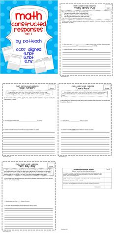 Math constructed responses for an entire school year! This pack has 36 full, three-part constructed response tasks. Rubric included.