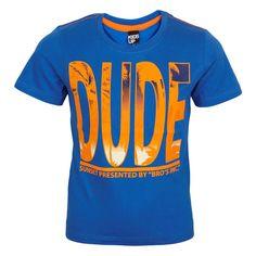 Super lækker blå T-shirt med orange print fra Kids-Up