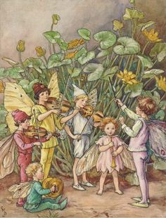 A fairy orchestra by Cicely Mary Barker, an illustration from The Water Babies.