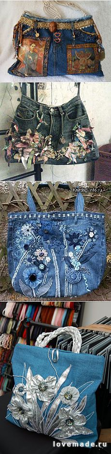 Ideas for upcycling your old jeans. Bolsos y otros bellisimos Más Fabric Purses, Fabric Bags, Jean Purses, Denim Handbags, Denim Purse, Denim Ideas, Denim Crafts, Boho Bags, Recycled Denim