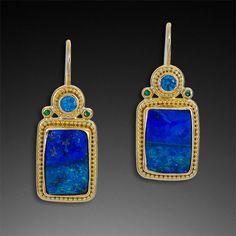 Granulation 22kt gold boulder opal earrings by Zaffiro Fine Jewelry. | via zaffirojewelry.com