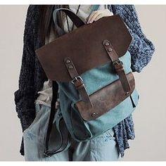 Plecak 'VINTAGE 2' płótno-skóra naturalna A4 Zielony - ★ Torby i torebki skórzane, bawełniane, podróżne, damskie i męskie
